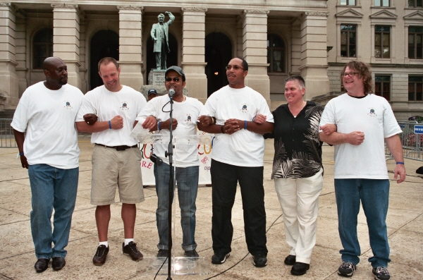 Pro-Love March July 2007 Victor Powell, D.E. Paulk, Carlton Pearson, Anthony Muhammad, Anne Barr, Greg Kelly (left to right)